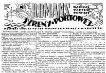 Romans syreny portowej. Powieść osnuta na tle wydarzeń Gdyni i Wybrzeża / Tadeusz Denhoff // Dzień Dobry. - 1938, nr 19, s. 4