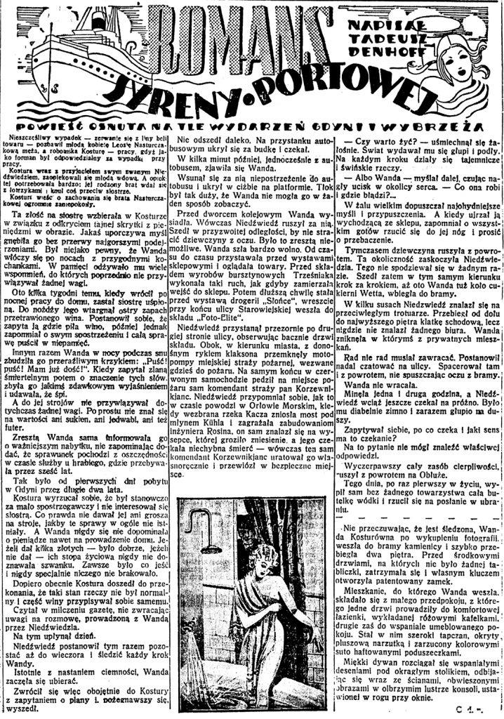 Romans syreny portowej. Powieść osnuta na tle wydarzeń Gdyni i Wybrzeża / Tadeusz Denhoff // Dzień Dobry. - 1938, nr 21, s. 4