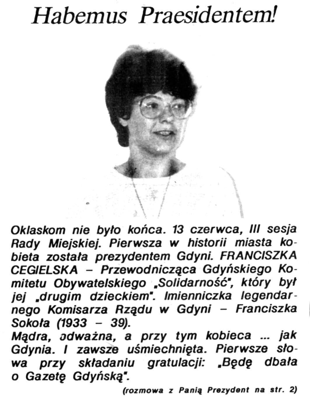 Habemus Praesidentem! // Gazeta Gdyńska. - 1990, nr 12, s. [1]