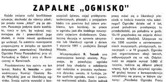 """Zapalne """"ognisko"""" / Alicja Grzybiakówna // Gazeta Gdyńska. - 1990, nr 12, s. 6"""