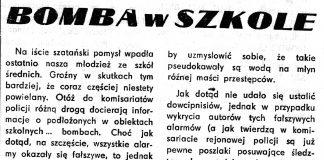 Bomba w szkole // G.Z. // Gazeta Gdyńska.- 1990, nr 13, s. 1