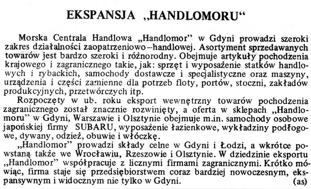 "Ekspansja ""Handlomoru"" / (as) // Gazeta Gdyńska. - 1990, nr 3, s. 7"