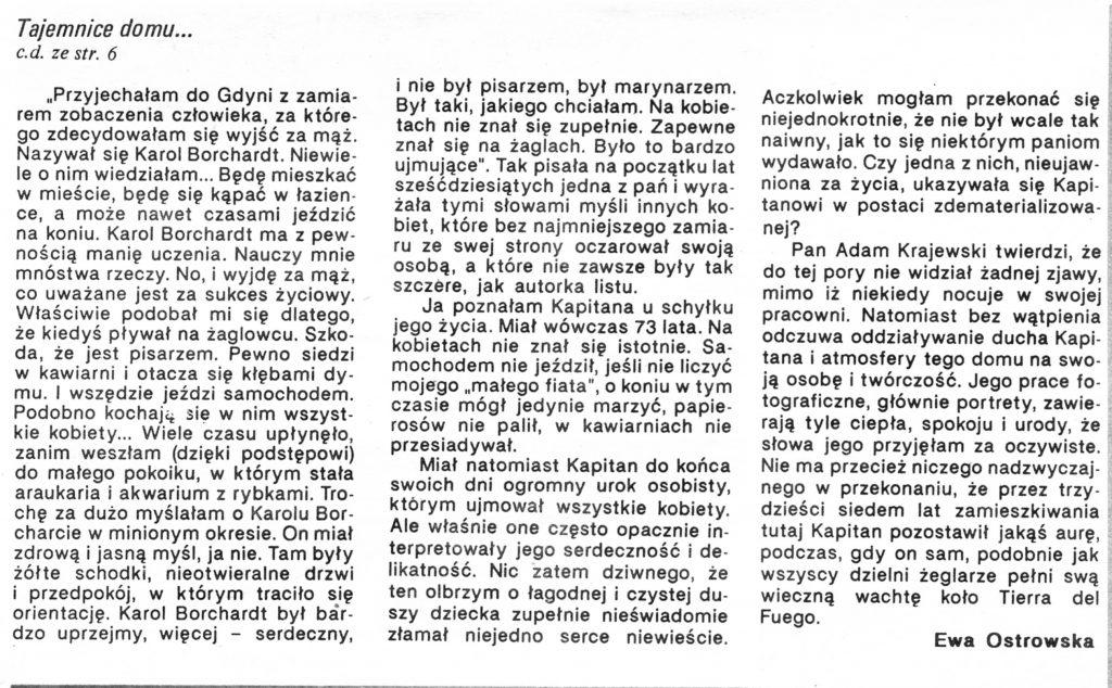 Tajemnice domu Borchardta / Ewa Ostrowska // Gazeta Gdyńska. - 1990, nr 3, s. 6, 8. - Il.