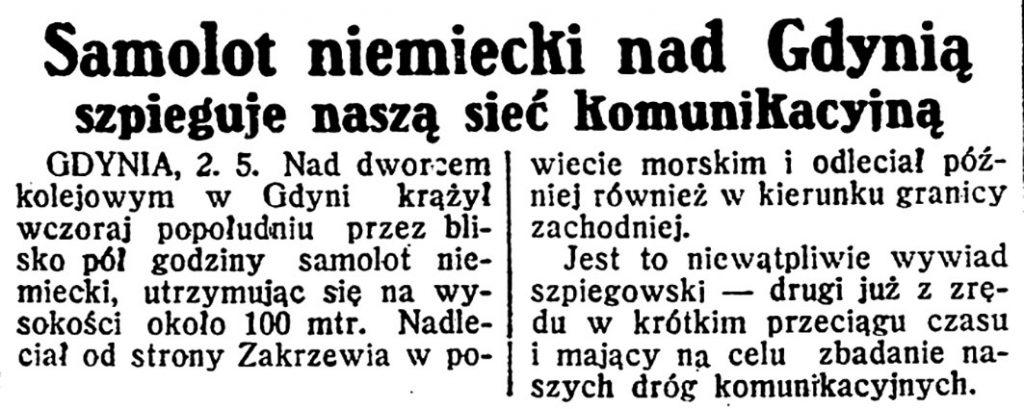 Samolot niemiecki nad Gdynią szpieguje naszą siec komunikacyjną