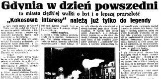 """Gdynia w dzień powszedni to miasto ciężkiej walki o byt i o lepszą przyszłość. """"Kokosowe"""" interesy należą już tylko do legendy // Dzień Dobry. - 1934, nr 235, s. 6"""