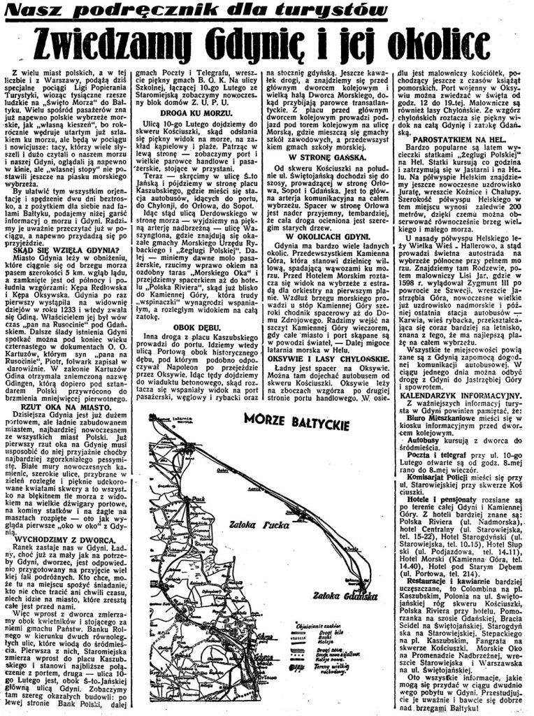 Zwiedzamy Gdynię i jej okolice. Nasz podręcznik dla turystów // Dzień Dobry. - 1935, nr 177, s. 4