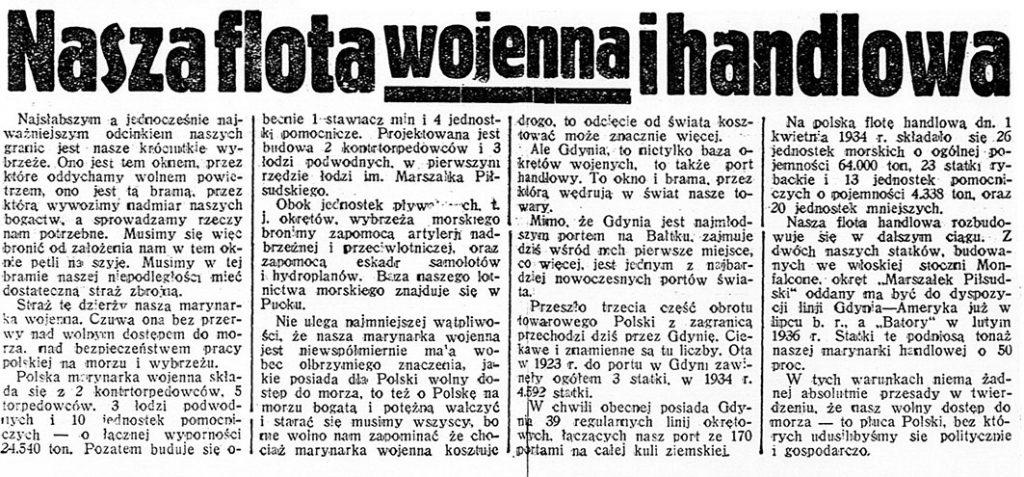 Nasza flota wojenna i handlowa // Dzień  Dobry. - 1935, nr 178, s. 3-4