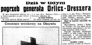 Dziś w Gdyni pogrzeb generała Orlicz-Dreszera // Dzień Dobry. - 1936, nr 200, s. 1