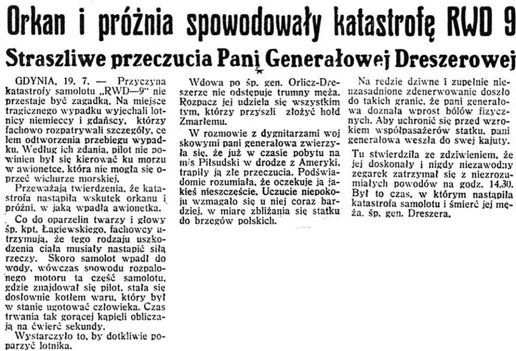 Orkan i próżnia spowodowały katastrofę RWD 9. Straszliwe przeczucia Pani Generałowej Dreszerowej // Dzień Dobry. - 1936, nr 200, s. 2