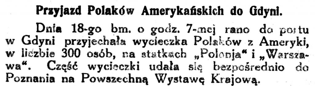 Przyjazd Polaków Amerykańskich do Gdyni Kurjer-Zachodni-1929-nr-50-s-22