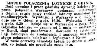 Letnie połączenia lotnicze z Gdynią // Kurjer Warszawski. - 1935, nr 113, s. 18
