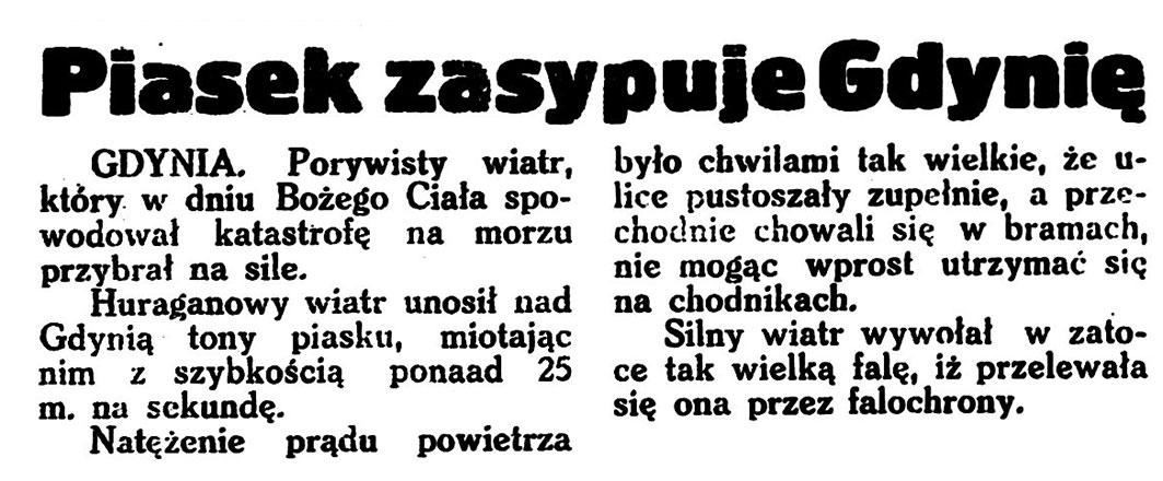 Piasek zasypuje Gdynię // Wieczorna Gazeta Wileńska. - 1935, nr 149, s. 2