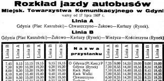 Rozkład jazdy autobusów Miejsk. Towarzystwa Komunikacyjnego w Gdyni ważny od 17 lipca 1937 r.