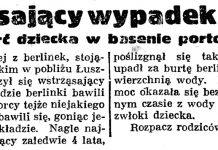 Wstrząsający wypadek w Gdyni. Śmierć dziecka w basenie portowym // Gazeta Gdańska. - 1935, nr 129, s. 7