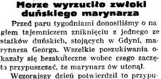 Morze wyrzuciło zwłoki duńskiego marynarza // Gazeta Gdańska. - 1935, nr 129, s. 8