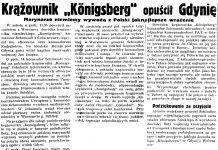 """Krążownik """"Konigsberg"""" opuścił Gdynię. Marynarze niemieccy wywożą z Polski jak najlepsze wrażenie // Gazeta Gdańska. - 1935, nr 191, s. 4"""