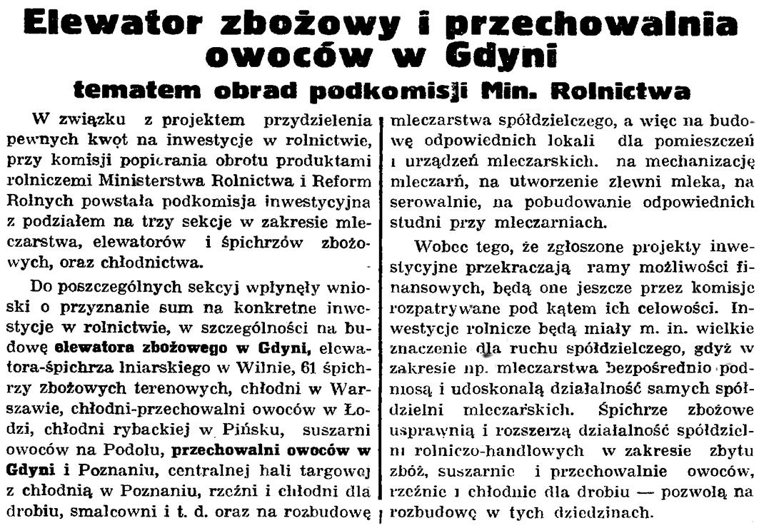 Elewator zbożowy i przechowalnia owoców w Gdyni tematem obrad podkomisji Min. Rolnictwa // Gazeta Gdańska. - 1935, nr 191, s. 8