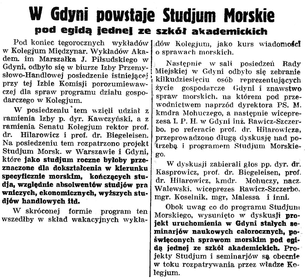 W Gdyni powstaje Studium Morskie pod egidą jednej ze szkół akademickich // Gazeta Gdańska. - 1935, nr 198, s. 5