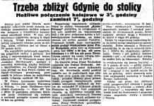 Trzeba zbliżyć Gdynię do stolicy. Możliwe połączenie kolejowe w 3 3/4 godziny zamiast 7 1/2 godziny // Gazeta Gdańska. - 1935, nr 254, s. 7