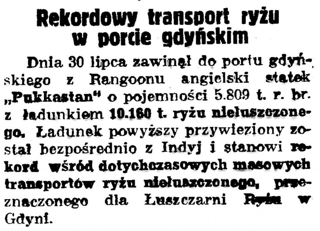 Rekordowy transport ryżu w porcie gdyńskim // Gazeta Gdańska. - 1936, nr 175, s. 5