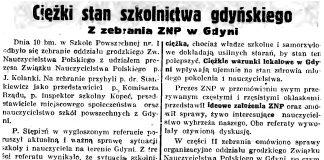 Ciężki stan szkolnictwa gdyńskiego. Z zebrania ZNP w Gdyni // Gazeta Gdańska. - 1936, nr 237, s. 14