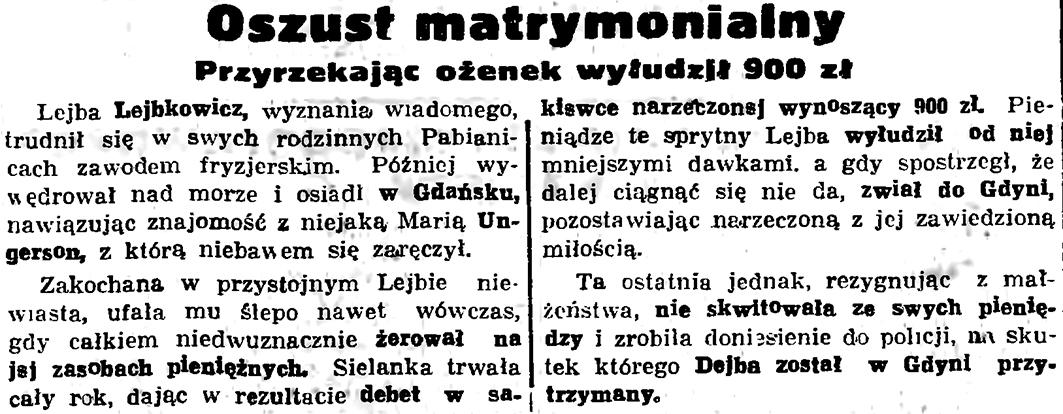 Oszust matrymonialny. Przyrzekając ożenek wyłudził 900 zł // Gazeta Gdańska. - 1936, nr 245, s. 14