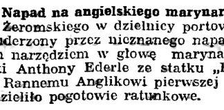 Napad na angielskiego marynarza // Gazeta Gdańska. - 1937, s. 7