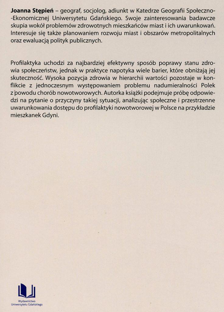 Społeczne i przestrzenne uwarunkowania zdrowia kobiet: przykład Gdyni / Joanna Stępień