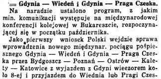Gdynia - Wiedeń i Gdynia - Praga Czeska // Kurjer Warszawski. - 1933, nr 275, s. 4