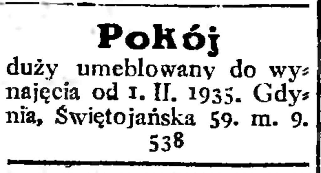 Pokój duży umeblowany do wynajęcia ... // Gazeta Gdańska. - 1935, nr 17, s. 14