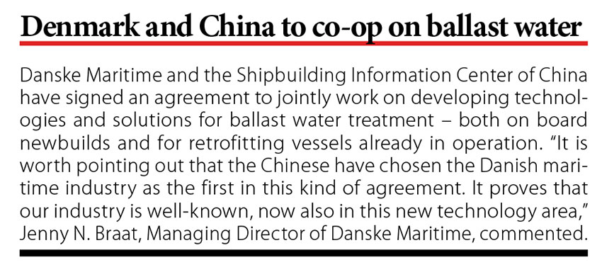 Denmark and China to co-op on ballast water // Baltic Transport Journal. - 2017, nr 6, s. 10