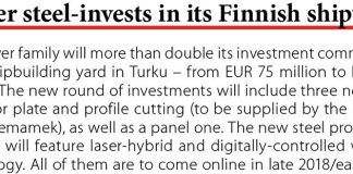 Meyer steel-invests in its Finnish shipyard // Baltic Transport Journal. - 2017, nr 5, s. 10z