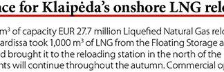 Tests commence for Klaipeda's onshore LNG reloading station // Baltic Transport Journal. - 2017, nr 5, s. 10