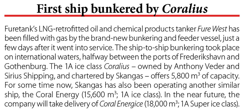 First ship bunkered by Coralius // Baltic Transport Journal. - 2017, nr 5, s. 10