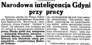 Narodowa inteligencja Gdyni przy pracy // Gazeta Gdyńska. - 1939, z dnia 2 marca, s. 7