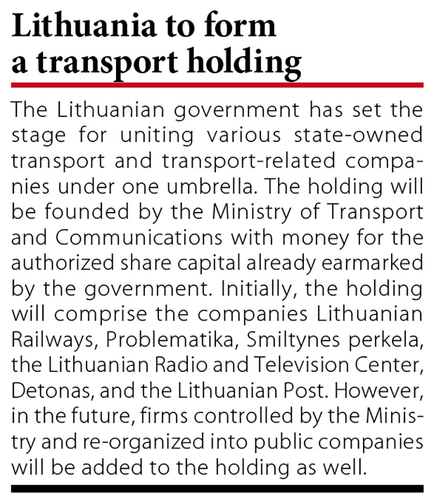 EIB lends EUR 68 mln to Lithuanian Railways // Baltic Transport Journal. - 2016, nr 1, s. 10
