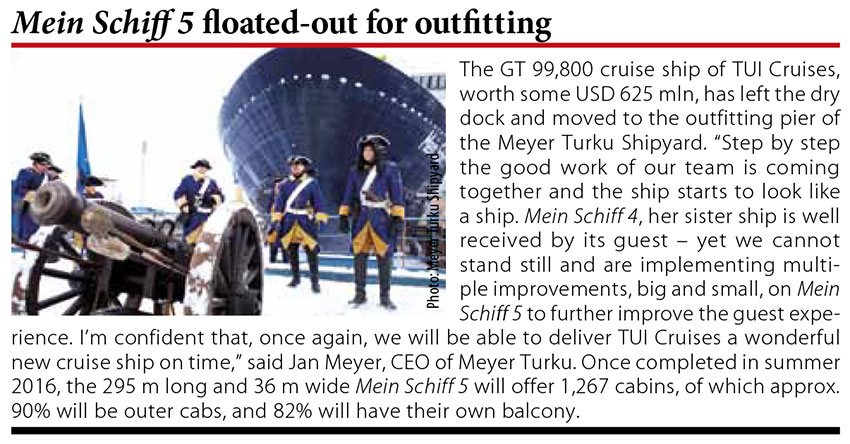 Mein Schiff 5 floated-out for outfitting // Baltic Transport Journal. - 2016, nr 1, s. 10