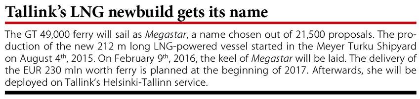 Tallink's LNG newbuild gets its name // Baltic Transport Journal. - 2016, nr 1, s. 10