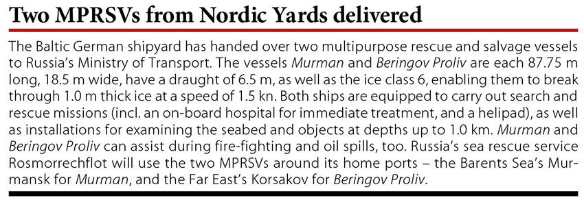 Two MPRSVs from Nordic Yards delivered // Baltic Transport Journal. - 2016, nr 1, s. 10