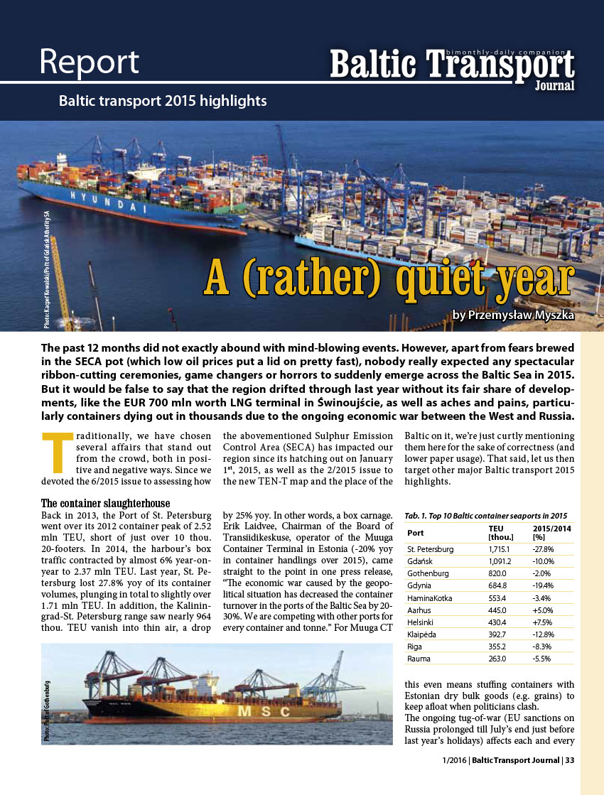 A (rather) quiet year. Baltic transport 2015 highlinds / // Baltic Transport Journal. - 2016, nr 1, s. 33-39. - Il.