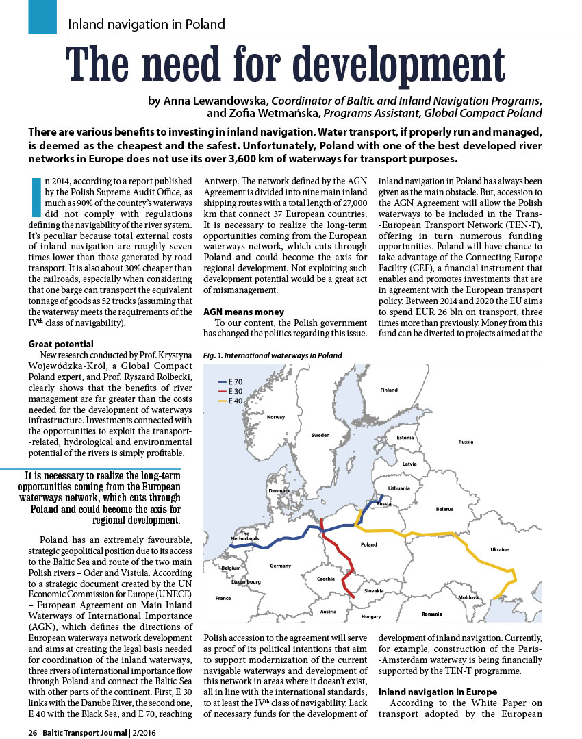 The need for development. Inland navigation in Poland / Anna Lewandowska // BalticTransport Journall. - 2016, nr 2, s. 26-27. - Il.