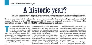 A historic year? 2015 reefer market analysis / Dirk Visser // Baltic Transport Journal. - 2016, nr 2, s. 28-29. - Tab.