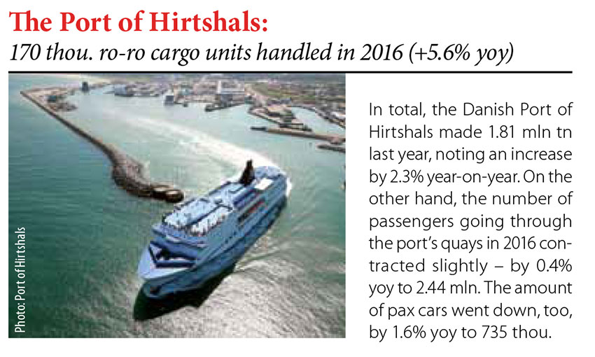 The Port of Hirtshals: 170 thou. ro-ro cargo units handled in 2016 (+5.6% yoy) // Baltic Transport Journal. - 2017, nr 1, s. 8. - Il.
