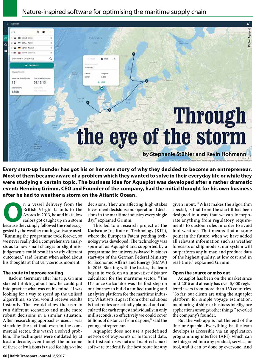 Throug the eye of the storm / Stephanie Stuhler, Kevin Hohmann // Baltic Transport Journal. - 2017, nr 6, s. 60-61. - Il.
