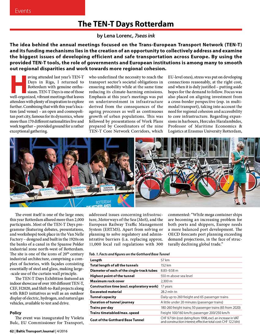 The TEN-T-Days Rotterdam / Lena Lorenc // Baltic Transport Journal. - 2016, nr 4, s. 62-63. - Il.