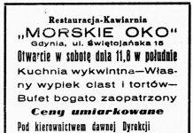 """Restauracja-Kawiarnia """"MORSKIE OKO"""" Gdynia, ul. Świętojańska 15 Otwarcie w sobotę dnia 11,8 w południe ..."""