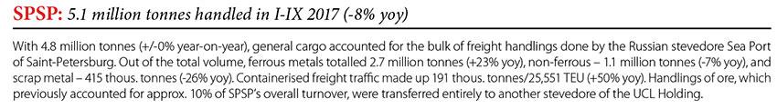SPSP: 5,1 million tonnes handled in I-IX 2017 (-8% yoy) // Baltic Transport Journal. - 2017, nr 6, s. 9
