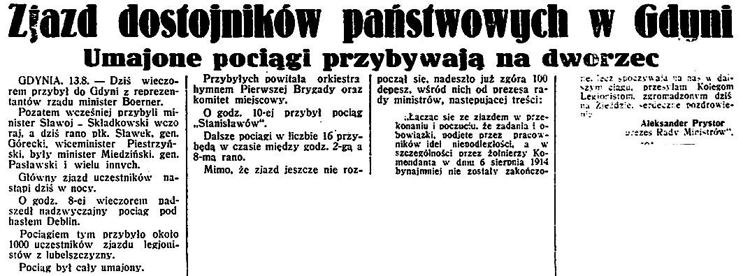 Zjazd dostojników państwowych w Gdyni. Umajone pociągi przybywają na dworzec / Aleksander Prystor // Dzień Dobry. - 1932, nr 225, s. 1