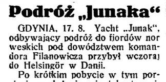 """Podróż """"Junaka"""" // Dzień Dobry. - 1932, nr 229, s. 1"""