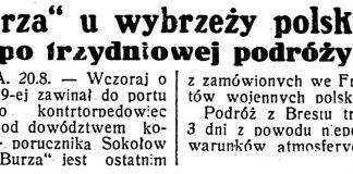 """""""Burza"""" u wybrzeży polskich po trzydniowej podróży // Dzień Dobry. - 1932, nr 232, s. 1"""